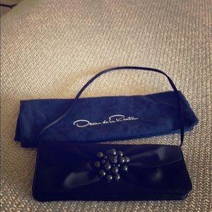 Oscar de la Renta black satin evening bag